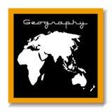Scheda del nero del educaton di geografia Fotografie Stock Libere da Diritti