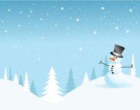 Scheda del pupazzo di neve di vettore per natale Fotografia Stock