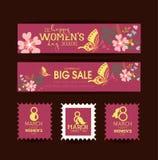 Scheda del regalo Giorno internazionale felice delle donne 8 marzo Festa delle donne illustrazione di stock
