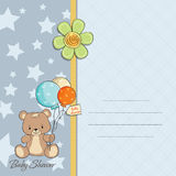 Scheda dell'acquazzone del neonato con l'orsacchiotto sveglio Fotografia Stock Libera da Diritti