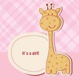 Scheda dell'acquazzone della neonata con la giraffa Fotografia Stock