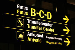 Scheda dell'aeroporto che mostra i sensi Immagini Stock Libere da Diritti