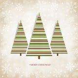 Scheda dell'annata con gli alberi di Natale Immagine Stock