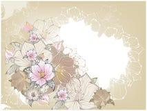 Scheda dell'annata con i fiori Immagini Stock Libere da Diritti
