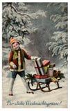 Scheda dell'annata di Buon Natale Immagini Stock