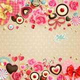 Scheda dell'annata di giorno del `s del biglietto di S. Valentino Fotografia Stock