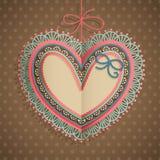 Scheda dell'annata di giorno del `s del biglietto di S. Valentino con cuore Fotografie Stock
