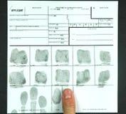 Scheda dell'impronta digitale Immagini Stock