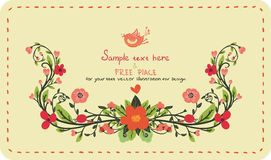 Scheda dell'invito con i fiori Fotografia Stock