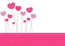 Scheda dell'invito dei cuori modellata colore rosa Immagini Stock