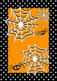 Scheda dell'invito dei ragni di Halloween Immagini Stock Libere da Diritti