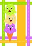 Scheda dell'invito del cono di gelato fotografia stock libera da diritti