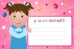 Scheda dell'invito del partito - ragazza Fotografia Stock Libera da Diritti