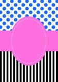 Scheda dell'invito del reticolo dei puntini e delle bande di Polka Immagine Stock