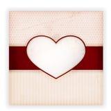 Scheda dell'invito dell'annata con il contrassegno del cuore Fotografia Stock Libera da Diritti