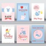 Scheda dell'invito della doccia di bambino Vettore Fotografie Stock Libere da Diritti