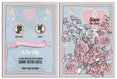 Scheda dell'invito di cerimonia nuziale 8x11 pollice, progettazione d'annata Siluetta Fotografia Stock