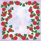 Scheda dell'invito o di saluto con l'ornamento delle rose Fotografia Stock