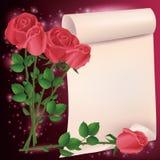 Scheda dell'invito o di saluto con le rose Fotografia Stock Libera da Diritti