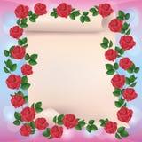 Scheda dell'invito o di saluto con le rose Fotografia Stock