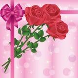 Scheda dell'invito o di saluto con le rose e l'arco Fotografia Stock Libera da Diritti