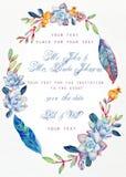 Scheda _1 dell'invito Succulenti del blu dell'acquerello Immagine Stock Libera da Diritti