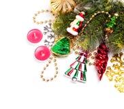 Scheda dell'nuovo anno con le belle decorazioni di colore Fotografia Stock