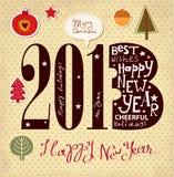 Scheda dell'nuovo anno dell'annata Immagine Stock