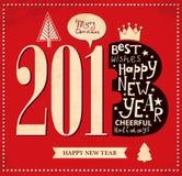 Scheda dell'nuovo anno dell'annata Fotografie Stock