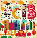 Scheda dell'nuovo anno dell'annata Fotografia Stock