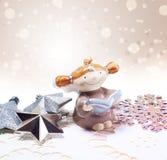 Scheda dell'nuovo anno per il disegno di festa con l'angelo Fotografia Stock Libera da Diritti