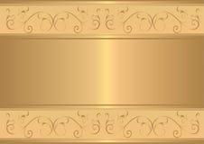 Scheda dell'oro con il disegno floreale dell'oro Immagini Stock Libere da Diritti