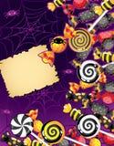 Scheda della caramella di Halloween Fotografie Stock