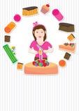 Scheda della ragazza della torta Fotografia Stock