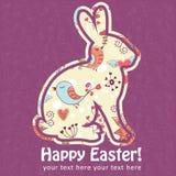 Scheda della siluetta del coniglietto delle uova di Pasqua Fotografia Stock