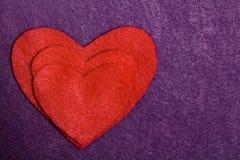 Scheda della siluetta del cuore di Felted Fotografia Stock Libera da Diritti