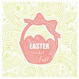 Scheda della sorgente L'iscrizione - il vostro canestro di Pasqua è pieno Disegno di Pasqua con il cestino Modello scritto a mano Immagine Stock Libera da Diritti