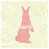 Scheda della sorgente L'iscrizione - miracoli benedetti di Pasqua Progettazione di Pasqua con coniglio Modello scritto a mano di  Fotografia Stock