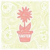 Scheda della sorgente L'iscrizione - questa stagione gloriosa Pasqua Progettazione di Pasqua con il fiore Modello scritto a mano  Fotografia Stock