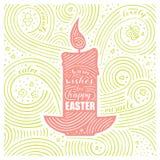Scheda della sorgente L'iscrizione - riscaldi i desideri per Pasqua felice Progettazione di Pasqua con la candela Modello scritto Fotografia Stock