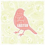 Scheda della sorgente Primavera calda e luminosa dell'iscrizione - con Pasqua Progettazione di Pasqua con l'uccello Modello scrit Fotografie Stock Libere da Diritti