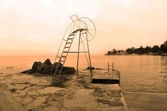 Scheda della spiaggia in Opatija Immagine Stock Libera da Diritti