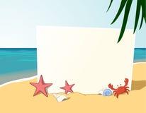 Scheda dello spazio in bianco della spiaggia di estate Fotografie Stock