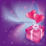 Scheda di amore con i cuori ed il contenitore di regalo Immagine Stock