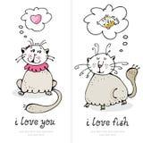Scheda di amore dei gatti Immagini Stock