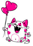 Scheda di amore del biglietto di S. Valentino del gatto Fotografie Stock
