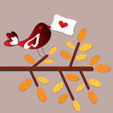 Scheda di amore dell'uccello Fotografie Stock