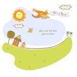 Scheda di annuncio del bambino con l'aeroplano illustrazione di stock