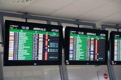Scheda di arrivi dell'aeroporto Fotografia Stock Libera da Diritti