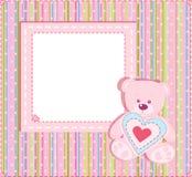 Scheda di arrivo del bambino con il blocco per grafici della foto Immagine Stock